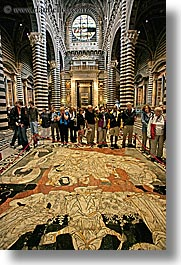 arts, churches, europe, floors, inlaid, italy, marble, religious, siena, towns, tuscany, vertical, photograph