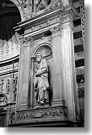 arts, black and white, churches, europe, italy, marble, religious, sculptures, siena, statues, towns, tuscany, vertical, photograph