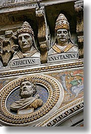 arts, churches, europe, heads, italy, marble, popes, religious, sculptures, siena, towns, tuscany, vertical, photograph