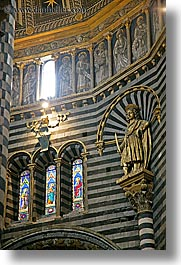 arts, churches, europe, glasses, italy, marble, religious, sculptures, siena, stained, stained glass, statues, towns, tuscany, vertical, windows, photograph