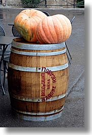 barrels, europe, fruits, italy, pumpkins, siena, towns, tuscany, vertical, woods, photograph