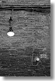 abstracts, black and white, bricks, europe, italy, lights, siena, towns, tuscany, vertical, walls, photograph
