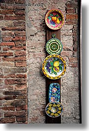 arts, bricks, ceramics, europe, italy, plates, siena, towns, tuscany, vertical, photograph