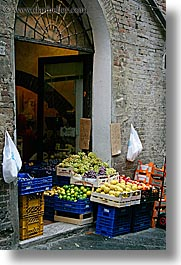 crates, doorways, europe, fruits, italy, siena, towns, tuscany, vertical, photograph