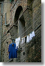 bricks, europe, hangings, italy, laundry, siena, towns, tuscany, vertical, photograph