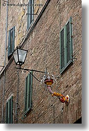 arts, bricks, europe, italy, lamp posts, siena, street lamps, towns, tuscany, vertical, windows, photograph