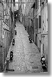 black and white, cobblestones, empty, europe, italy, narrow streets, siena, streets, towns, tuscany, vertical, photograph