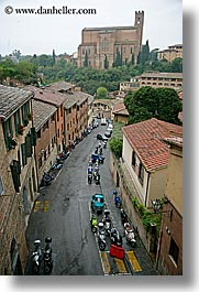 bell towers, churches, cobblestones, empty, europe, italy, narrow streets, siena, streets, towns, tuscany, vertical, photograph
