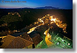 cityscapes, europe, horizontal, italy, long exposure, mountains, nite, sorano, towns, tuscany, photograph