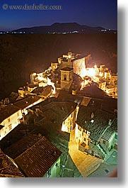 cityscapes, clock tower, europe, italy, long exposure, mountains, nite, sorano, towns, tuscany, vertical, photograph