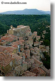 cityscapes, clock tower, europe, italy, mountains, rooftops, sorano, towns, tuscany, vertical, photograph