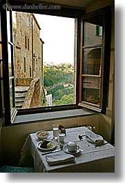 dining, europe, fortress, italy, sorano, tables, towns, tuscany, vertical, views, windows, photograph