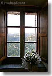 europe, flowers, fortress, italy, plants, sorano, towns, tuscany, vertical, windows, photograph