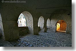 arches, archways, cobblestones, europe, fortress, horizontal, italy, sorano, stairs, towns, tuscany, photograph