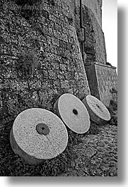 black and white, cobblestones, europe, fortress, italy, sorano, stones, towns, tuscany, vertical, wheels, photograph