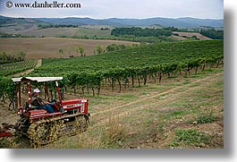 altesino, europe, horizontal, italy, tractor, tuscany, vineyards, wineries, photograph