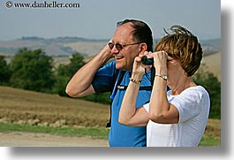 binoculars, couples, dale, europe, glasses, happy, horizontal, italy, jan, laugh, men, people, tourists, tuscany, womens, photograph