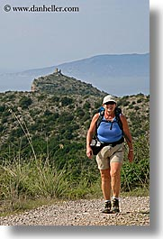 carol, europe, hiking, italy, larson, senior citizen, sunglasses, tourists, tuscany, vertical, womens, photograph