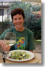 ann, europe, foods, happy, italy, leaders, offerings, picnic, salad, tourists, tuscany, vertical, white wine, wine glass, wines, womens, photograph