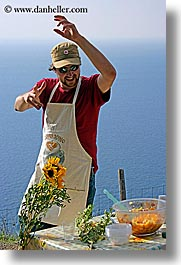 apron, dance, dancing, europe, foods, happy, hats, italy, leaders, men, picnic, roberto, sunglasses, tourists, tuscany, vertical, photograph