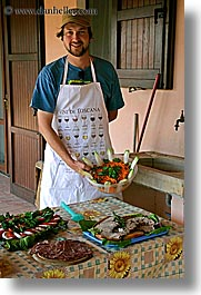 apron, europe, foods, happy, hats, italy, leaders, men, offerings, picnic, roberto, salad, tourists, tuscany, vertical, photograph