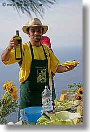 apron, europe, foods, happy, hats, italy, leaders, men, offerings, olive oil, picnic, tourists, tuscany, vertical, william, photograph