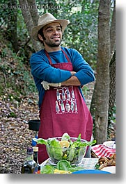 apron, europe, foods, happy, hats, italy, leaders, men, picnic, salad, serving, tourists, tuscany, vertical, william, photograph