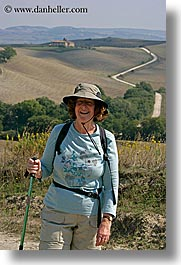 dorothy, europe, happy, hats, italy, malutta, tourists, tuscany, vertical, womens, photograph