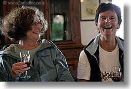 ann, dorothy, europe, glasses, happy, horizontal, italy, laugh, malutta, red wine, tourists, tuscany, wine glass, wines, womens, photograph