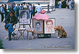 artists, dogs, europe, florence, horizontal, italy, tuscany, tuscany old, photograph