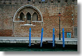 blues, canals, europe, horizontal, italy, poles, venecia, venezia, venice, photograph