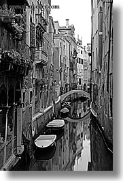 black and white, boats, canals, europe, italy, slow exposure, venecia, venezia, venice, vertical, photograph