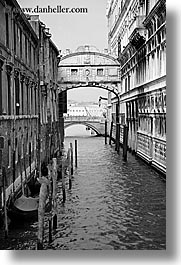 black and white, bridge, canals, europe, italy, sighs, venecia, venezia, venice, vertical, photograph