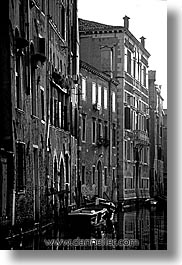 black and white, canals, europe, italy, venecia, venezia, venice, vertical, photograph