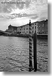black and white, canals, europe, italy, poles, venecia, venezia, venice, vertical, photograph