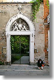 doors, doors & windows, europe, homeless, italy, men, venecia, venezia, venice, vertical, photograph