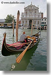boats, buildings, canals, europe, gondolas, gondolier, italy, men, venecia, venezia, venice, vertical, photograph