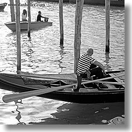 black and white, boats, canals, europe, eyeing, gondolas, italy, men, square format, venecia, venezia, venice, womens, photograph