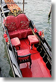 boats, canals, europe, gondolas, italy, plush, red, venecia, venezia, venice, vertical, photograph
