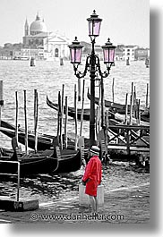 color composite, color/bw composite, europe, gondolas, grand canal, italy, venecia, venezia, venice, vertical, photograph