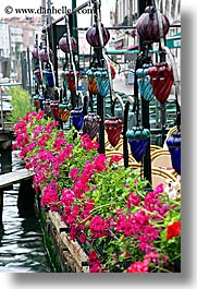 canals, europe, flowers, italy, venecia, venezia, venice, vertical, photograph