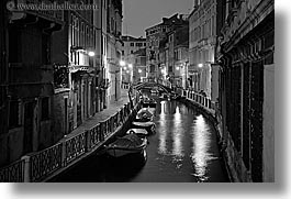 black and white, boats, canals, europe, horizontal, italy, nite, slow exposure, venecia, venezia, venice, photograph