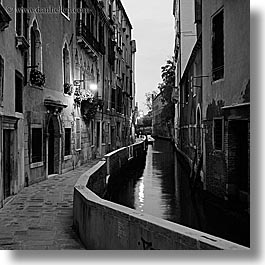 black and white, canals, europe, italy, nite, slow exposure, square format, venecia, venezia, venice, photograph