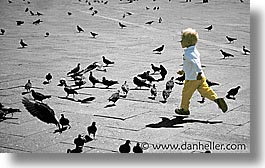 childrens, europe, horizontal, italy, people, pigeons, run, venecia, venezia, venice, photograph