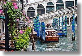 bridge, europe, flowers, horizontal, italy, rialto, rialto bridge, venecia, venezia, venice, photograph