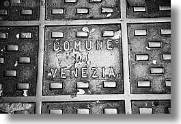 black and white, europe, horizontal, italy, manholes, streets, venecia, venezia, venice, photograph