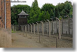 auschwitz, barbed, barbed wire, buildings, europe, fences, guard tower, horizontal, poland, prison, prison camp, structures, towers, wires, photograph
