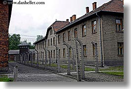 auschwitz, barbed, barbed wire, buildings, europe, fences, horizontal, poland, prison, prison camp, structures, windows, wires, photograph
