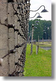 auschwitz, barbed, barbed wire, buildings, europe, fences, grass, lights, poland, prison, prison camp, structures, vertical, wires, photograph