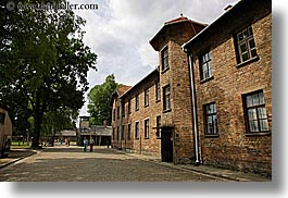 auschwitz, barracks, bricks, buildings, europe, horizontal, materials, poland, prison, prison camp, structures, trees, photograph